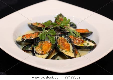 Clams with sauce on white plate