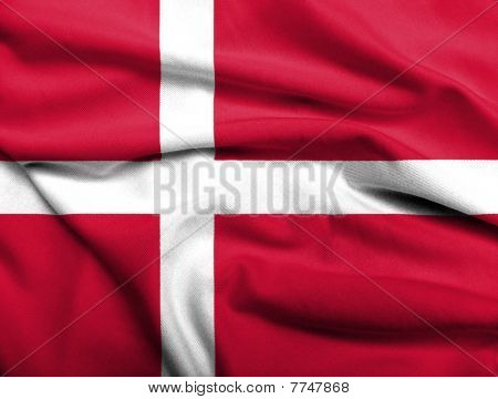 Realistic 3D flag of Denmark with satin fabric texture. poster