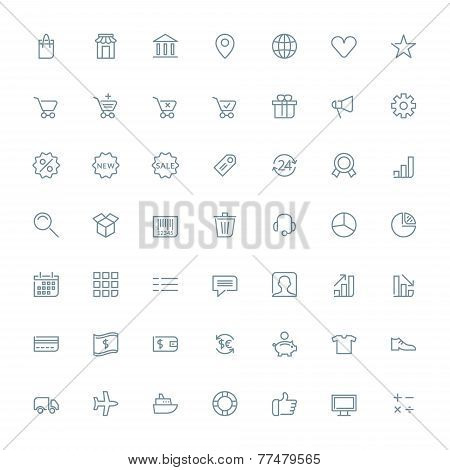 Thin line shopping and business icons set for web and mobile apps. Gray icons on white background. M