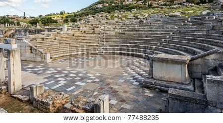 ruins of theater in Ancient Messinia, Peloponnes, Greece
