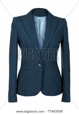 Blank Female Blue Business Suit On Isolated White Background