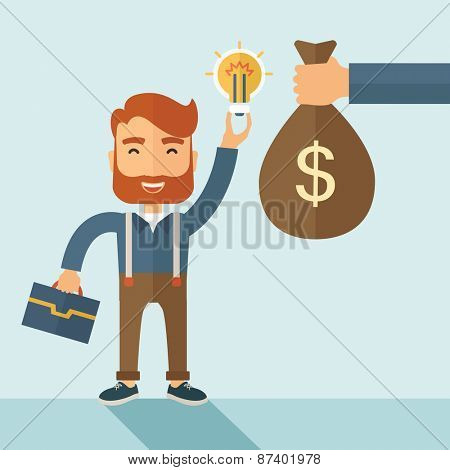 A hipster Caucasian businessman with beard exchange his hand with idea bulb to hand of money bag. Exchanging concept. A contemporary style with pastel palette soft blue tinted background. Vector flat