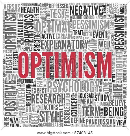 Close up Red OPTIMISM Text at the Center of Word Tag Cloud on White Background.