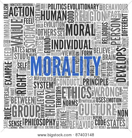 Close up Blue MORALITY Text at the Center of Word Tag Cloud on White Background.