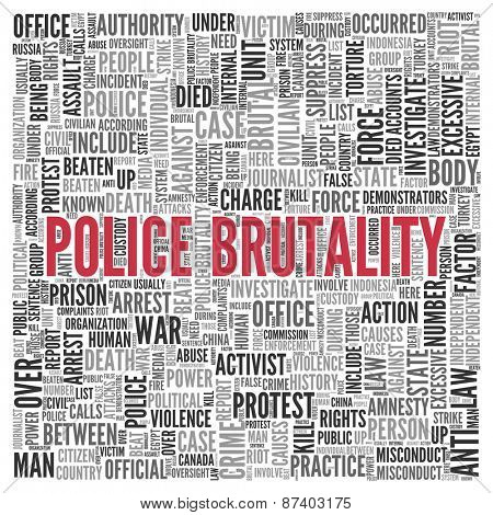Close up Red POLICE BRUTALITY Text at the Center of Word Tag Cloud on White Background.