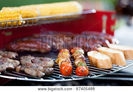 Tasty Food On Barbecue