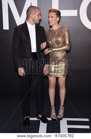 LOS ANGELES - FEB 20:  Scarlett Johansson & Romain Dauriac arrives to the Tom Ford Autumn/Winter 2015 Womenswear Collection Presentation  on February 20, 2015 in Hollywood, CA