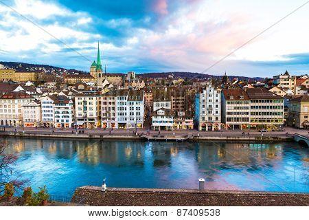 ZURICH, SWITZERLAND - CIRCA JAN 2015: Aerial view of the Old Town in Zurich, Switzerland.