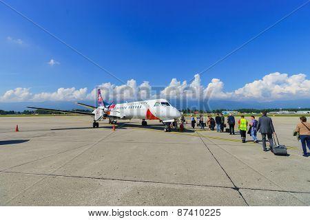GENEVA - SEP 16: Darwin Airline aircraft on September 16, 2014 in Geneva, Switzerland. Darwin Airline, operating under the brand name Etihad Regional since January 2014