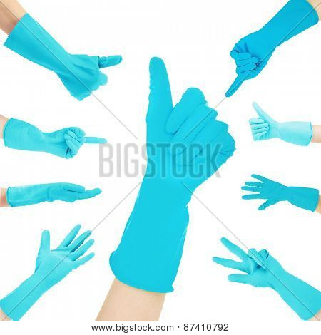 Hands in blue gloves gesturing numbers isolated on white