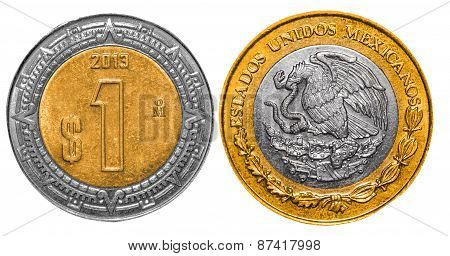 1 Mexican Peso back and front