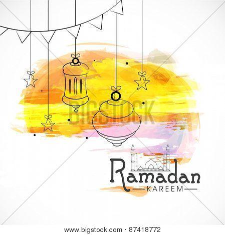 Beautiful concept for Islamic holy month of prayers Ramadan Mubarak celebrations with hanging lanterns on colourful background.