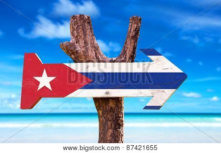 Cuba Flag wooden sign with beach background poster