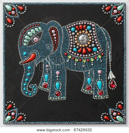 authentic original handmade craftwork painting elephant in ukrainian traditional style with jewelry stones on black background poster