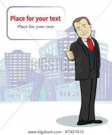 Smiling  businessman. Cartoon character. Template with place for text