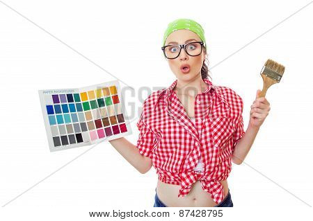 Surprised Woman Holding Paintbrush And Color Samples For Selection, Isolated On White. Female Worker