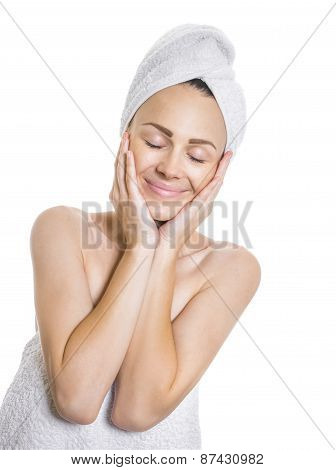 Eauty Woman With Closed Eyes After Bathing, Isolated On White. Female Wrapped In A Towel, Healthcare