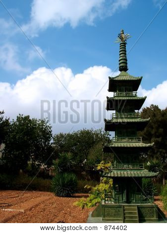detail of asian pagoda against cloudy sky and gardens poster