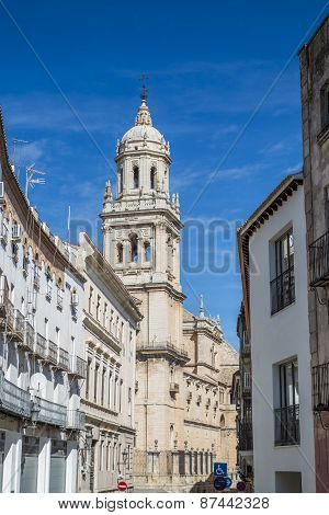 View of the Catholic cathedral in Jaen, Andalusia, Spain poster