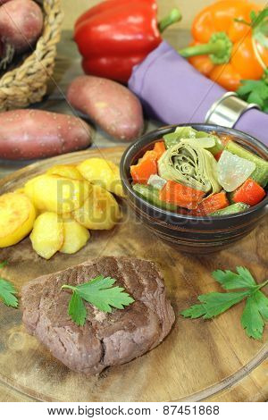 Ostrich Steak With Crispy Baked Potatoes