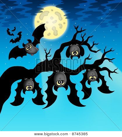 Cartoon Bats With Full Moon