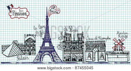 Set of Paris landmark panorama.Doodle sketchy notepaper