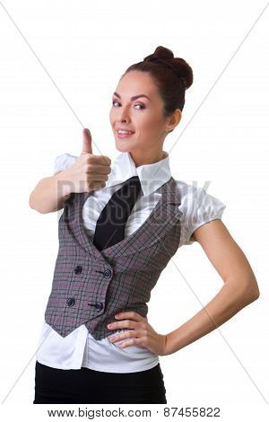 Confident Smiling Businesswoman On A White Background
