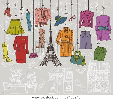 Paris style.Fashion clothing hanging on ropes.Colored Sketch