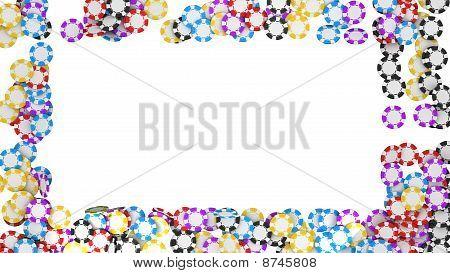 Casino Or Roulette Chips Framing On White
