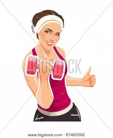 Girl with dumbbells for fitness. Eps10 vector illustration. Isolated on white background