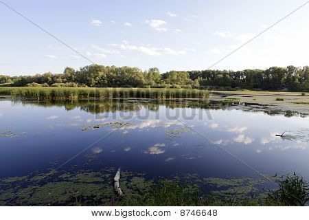 Water landscape against the blue sky