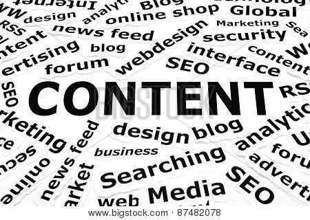 Content Paper Words Concept