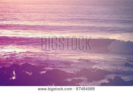 Retro Summer Beach Breaking Waves At Sunrise