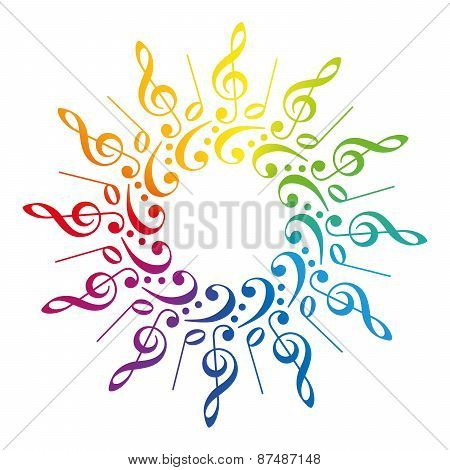 Music Clefs Radial Rainbow Pattern