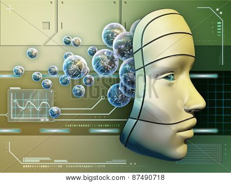 Conceptual image depicting a robot mask and an electronic brain. Digital illustration.