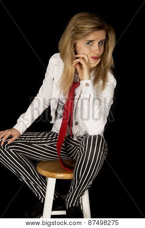 Confident Girl Wearing A Red Tie And White Jacket