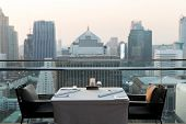 travel, vacation, tourism and business concept - roof top restaurant lounge at hotel in bangkok city poster