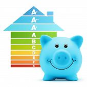 energy class scale savings efficiency piggy bank home poster