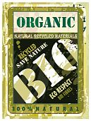 Organic Distressed Bio Label with Green Eco motive poster