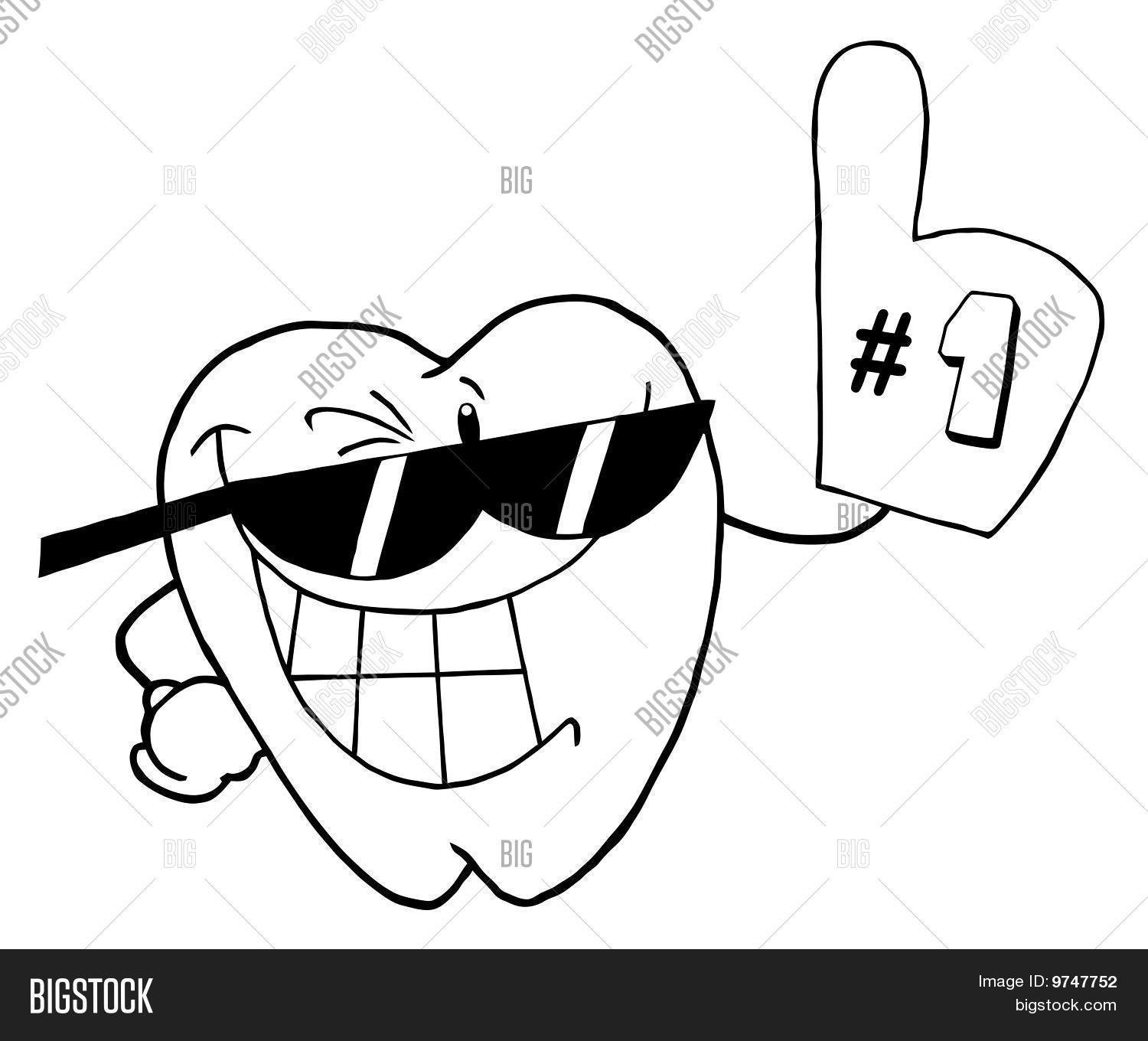 outlined smiling tooth cartoon image  u0026 photo