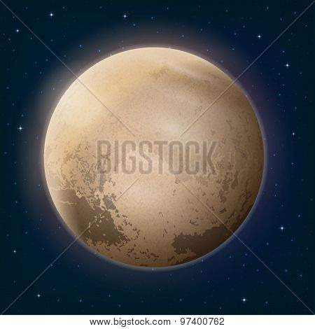 Dwarf Planet Pluto in Space