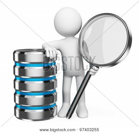 3D White People. Search In Database Concept