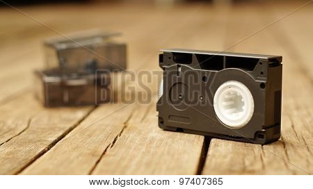 Compact videocassette for VHS videocamera