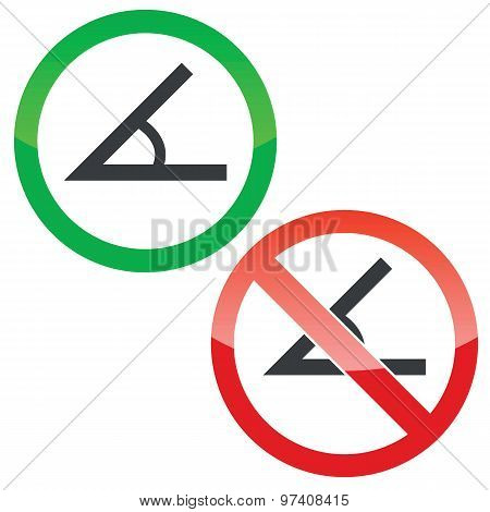 Angle permission signs set