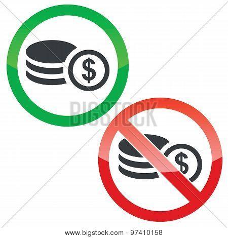 Dollar rouleau permission signs set