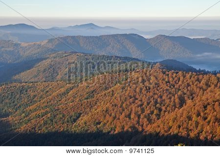 Autumn morning in mountains.