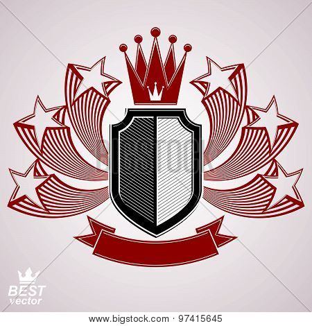 Royal stylized vector graphic symbol. Shield with 3d flying stars and imperial crown. Clear eps8 coat of arms, security idea. Sophisticated coronet, web design blazon. poster