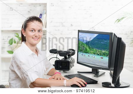 Pretty Young Woman Video Editor
