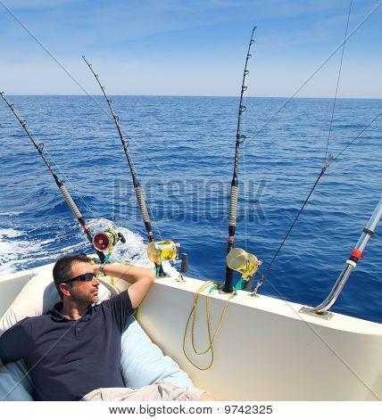Sailor Man Fishing Resting In Boat Summer Vacation