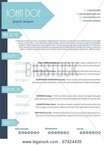 Simplistic Modern Resume Curriculum Vitae Cv Template Design With Arrows